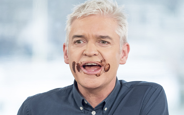 EDITORIAL USE ONLY. NO MERCHANDISING  Mandatory Credit: Photo by Ken McKay/ITV/REX/Shutterstock (5585453bi)  Phillip Schofield  'This Morning' TV show, London, Britain - 10 Feb 2016  Homemade chocolates  Chocolatier, Paul A Young shows us how easy it can be with his Classic Dark, Orange & Almond, Salt & Pepper and Rose chocs. Plus, as we have covered the ultimate indulgence with Valentine's truffles we'll be giving the new carb-free craze 'Cloud Bread' a try.
